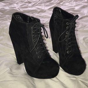 Traffic Shoes - Black Velvet Heels